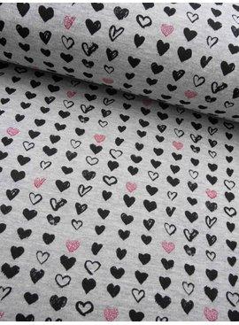 15€ p/m - Glitter Heartbeats - Joggingstof