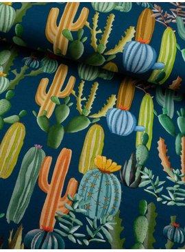 16€ p/m - Digitaal Cactussen op Blauw - French Terry