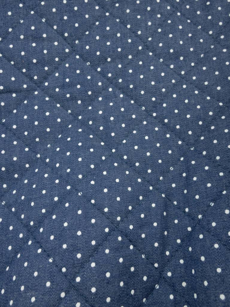 11,50€ p/m - Jeansblauw Polkadot - Gematelasseerde Stof