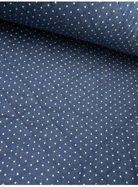 0,60m x 1,50m- Jeansblauw Polkadot - Gematelasseerde Stof