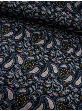 11,50€ p/m - Gekleurde Paisley op Zwart - Punta Di Roma