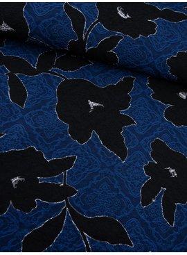 16€ p/m - Bloemen op Blauw - Geweven Jacquard