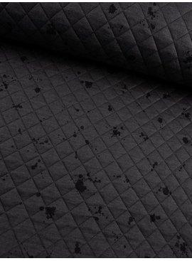 9€ p/m - Doorstikt Donkergrijs met Vlekjes - Sweaterstof