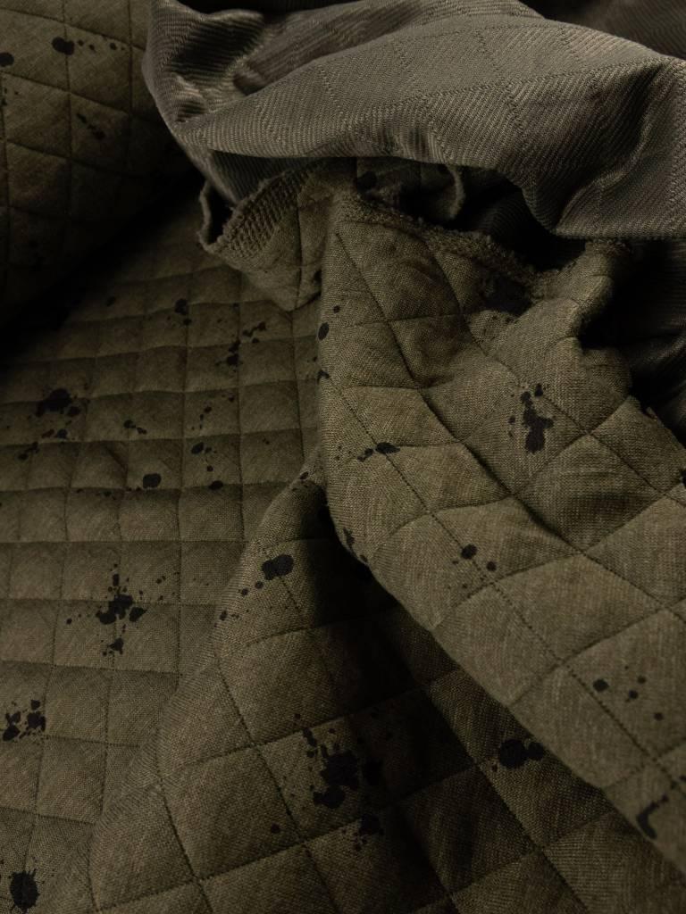 9€ p/m - Doorstikt Kaki met Vlekjes - Sweaterstof