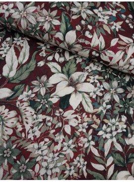 14€ p/m - Lelies en Bloemen op Donkerrood - Viscose