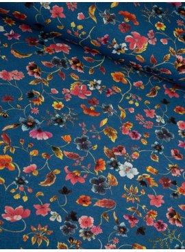 11,50€ p/m - Digitaal Bloemen op Blauw - Tricot Bedrukt