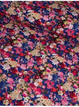 16€ p/m - Digitaal Blauw met Roze Bloemen - Tricot Bedrukt
