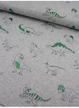 0,35m x 1,50m- Grijs met Dinosaurus Groen - Bedrukte Tricot