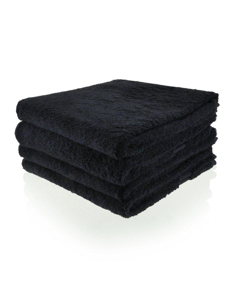 Funnies Geborduurde badhanddoek met naam - Zwart