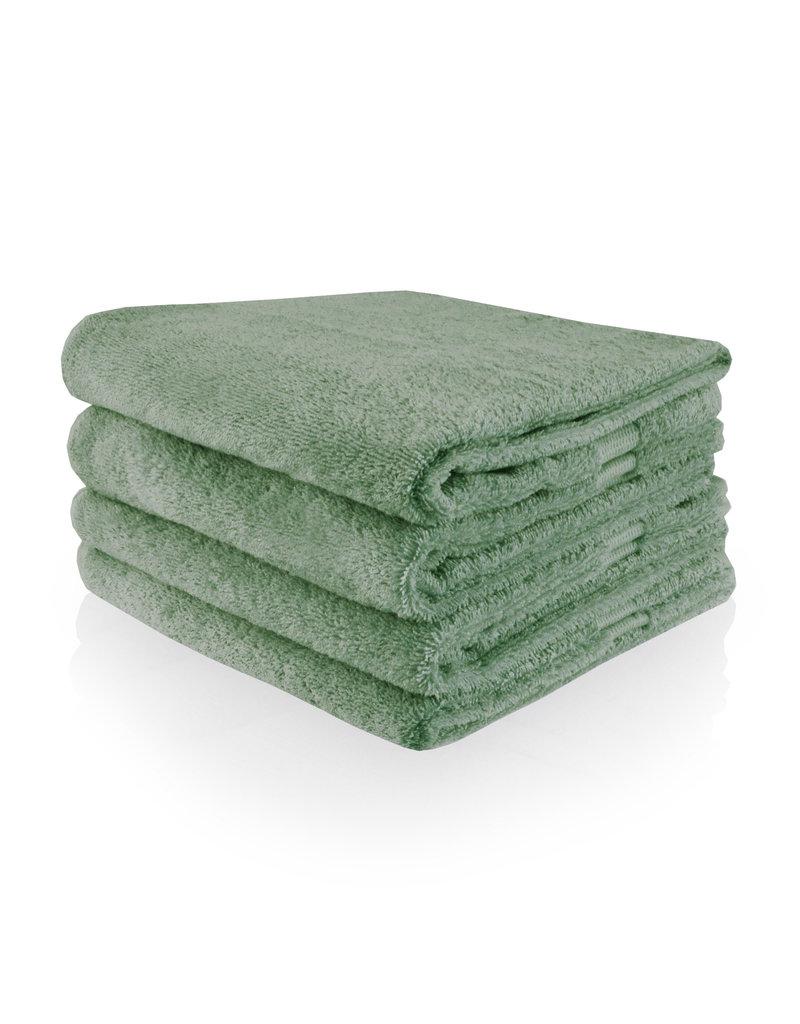 Funnies Geborduurde badhanddoek met naam - Stone Green