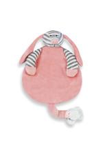 Funnies Knuffeldoekje Hond - Roze gestreept geborduurd met naam