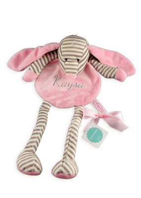 Funnies Knuffeldoekje Hond - Roze gestreept met lange pootjes geborduurd met naam