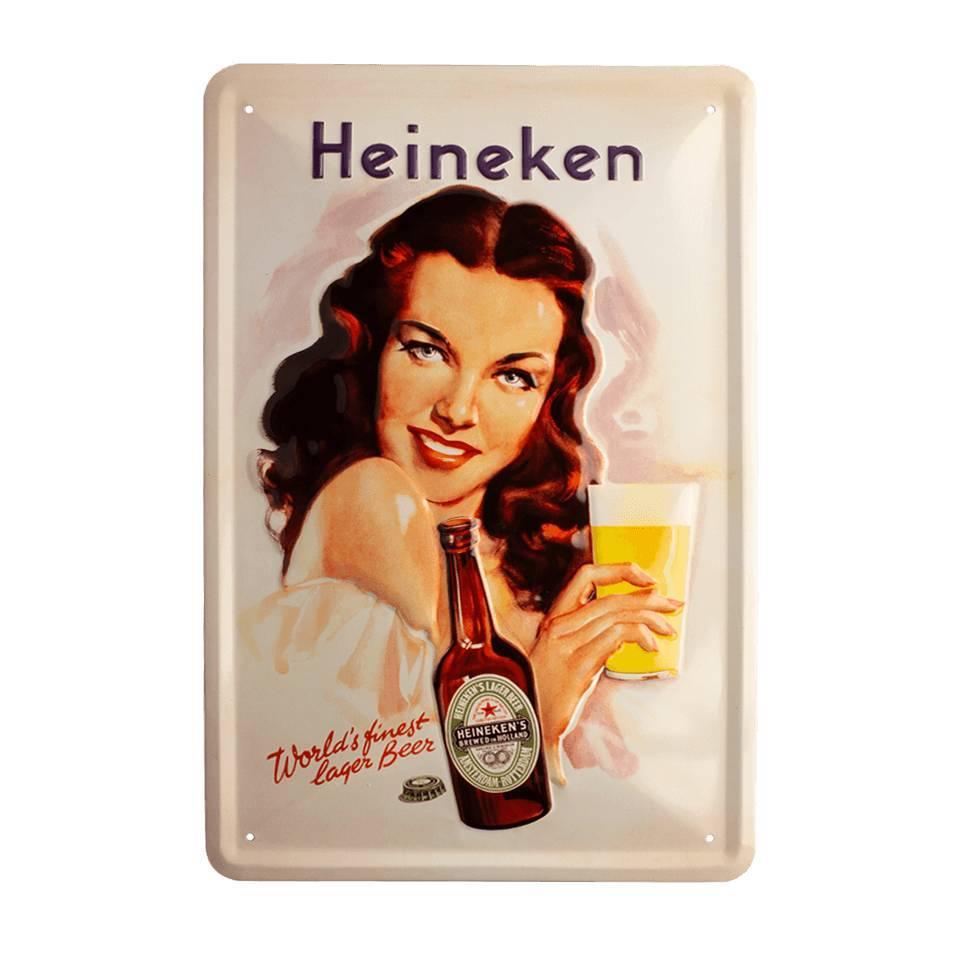 Retro metal bar sign - Pin up girl  (30 x 20cm)