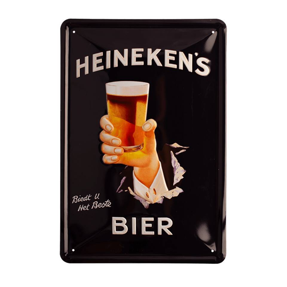 Retro metal bar sign - Heineken beer (30 x 20cm)