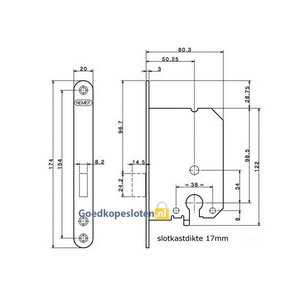 Nemef 1258 Cilinder Kast deurslot