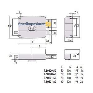 Cisa 50321 oplegslot doornmaat 50 en 60 dr. 1 + 2