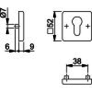 Hoppe Cilinderrozet Hoppe RC22 vierkant zwart 52KV/52KVS