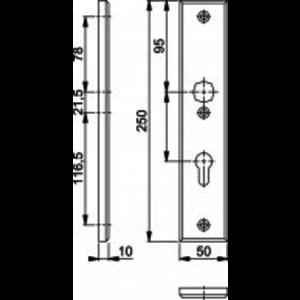 Hoppe VH schild Hoppe Binnen PC72 2214 Zwart 50x250mm