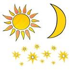 Muurdecoratie groot- set zon- maan- sterren - stickers-