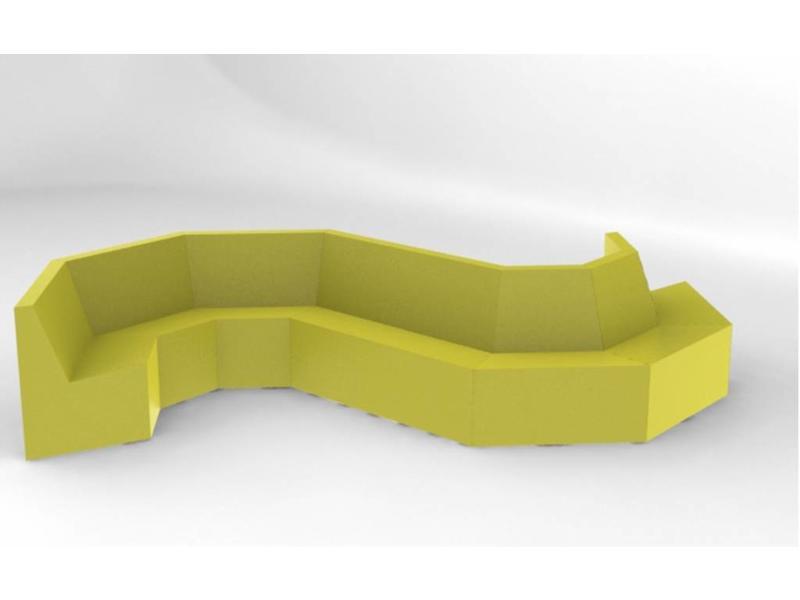 Atelier Michel Koene Trapezium zitelement koppelbaar-  BBK   94 x 107 x 70cm