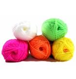 Fluor kleurige wol - set 5 stuks