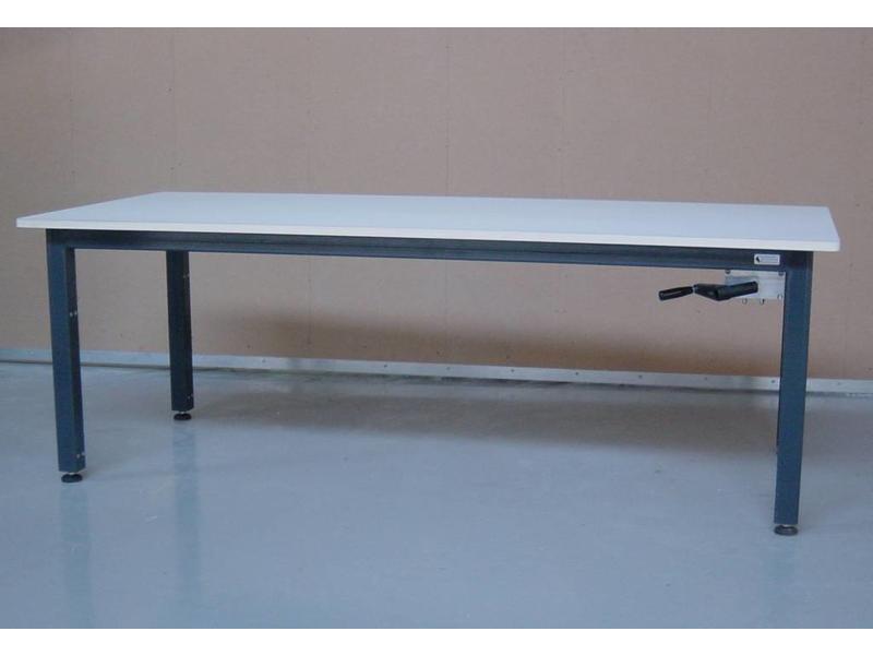 Atelier Michel Koene Hoog/laag tafel AMK hydraulisch Blad Ecoplex HPL 19mm wit   t/m 160 x 100cm