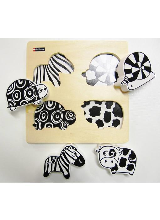 Dierenpuzzel zwart wit