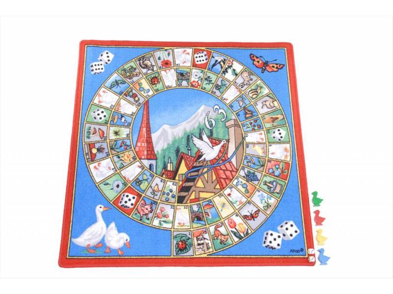 Spelkleed Ganzenbord inclusief speelstukken   92x92cm