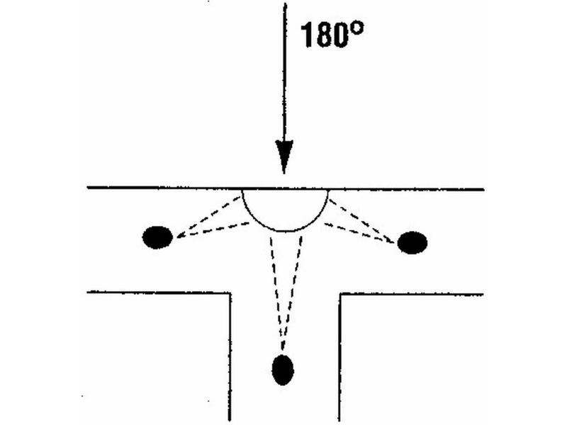 Panoramaspiegel- kwartrond bol   80cm, 180graden
