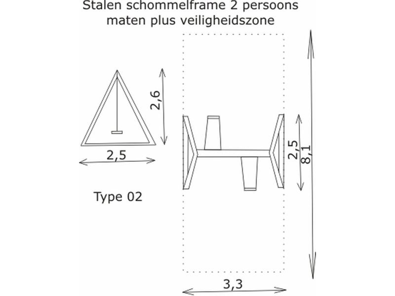 Schommelframe 2 schommels- verzinkt klein   254 x 244 x 229cm