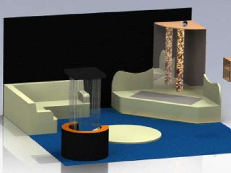 Zachte snoezelhoek waterbedtrilvloer in podium, Bisonyl   Maatwerk