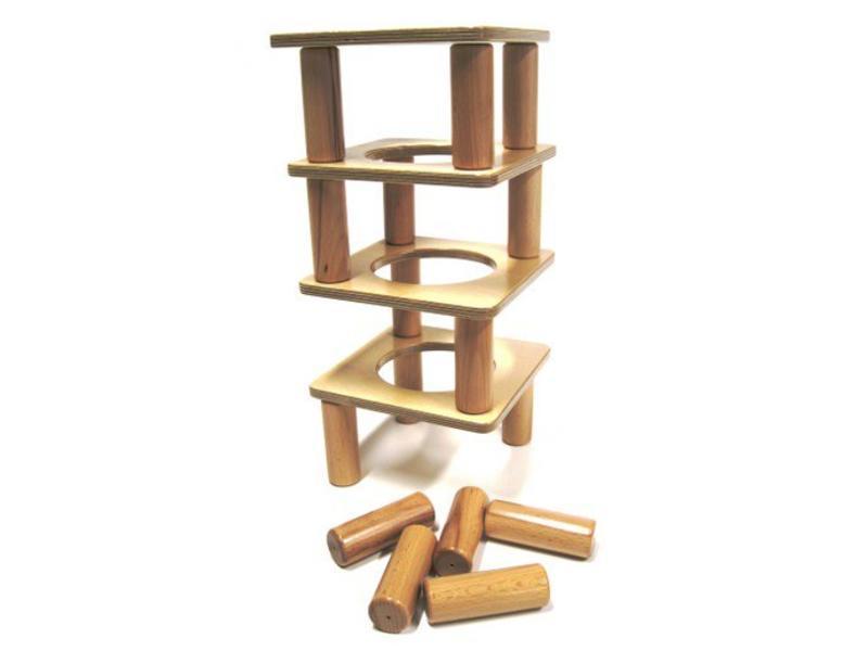 Edu-Play Balans toren hout   20x20cm, 10x3,5cm