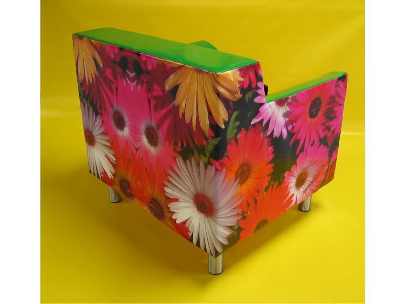 Atelier Michel Koene Stoel Futura 2 met bloemenprint RVS poten, Bisonyl