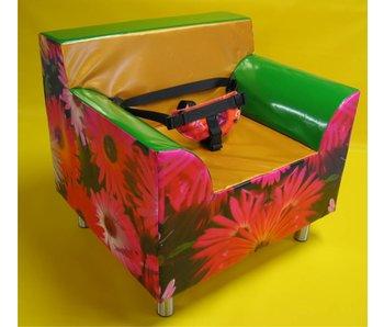 Stoel Futura 2 met bloemenprint RVS poten, Bisonyl
