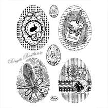 Transparent Stempel: Vintage Ostereier