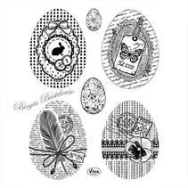 Transparent stempel: Vintage påskeæg
