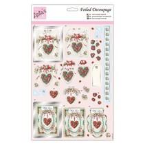 mooie hart motieven, losse vellen met zilveren effect