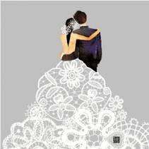 5 Serviettes de mariage avec le beau motif d'impression
