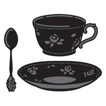 Stansning og prægning skabelon, kaffekop og te kop og ske