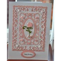 Stansning skabelon: dekorativ ramme + Rose