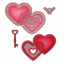 Stansning - og prægning stencil SET, peak hjerte + Vintage nøgle
