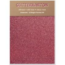 Glitter cardboard, 10 sheets 280g / m², A4, altrosa