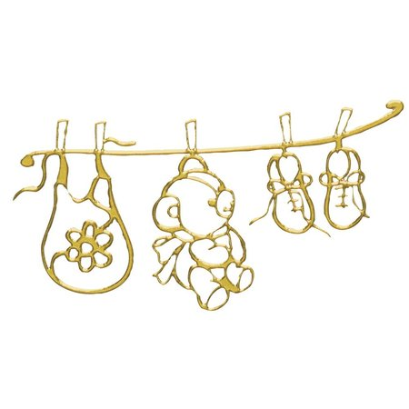 Embellishments / Verzierungen diseño de adhesivo: Bebés mundo arco 10x24,5 cm, oro