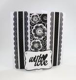 TONIC Estampado y grabado en relieve de plantilla: borde decorativo filigrana con flores