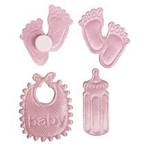 Satin Streuteile fodaftryk & Bottle & Latz i baby pink
