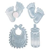 Satin Streuteile footprint & Bottle & Latz in Baby Blue