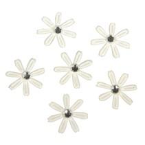 60 satin blomster med strass, 1,8 cm ø elfenben