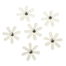 60 satin flowers with rhinestones, 1.8 cm ø ivory