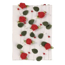 Rose garland with leaves + red pearls