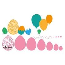 Ponsen sjabloon: Paaseieren en ballonnen!
